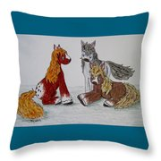 Three Little Ponies Throw Pillow