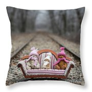 Three Little Teddy Bear Sit In A Sofa In The Middle Of The Winter Forest Throw Pillow