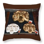 Three Masks For Sale, Venice Throw Pillow