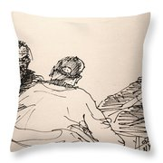 Three Men At Tims Throw Pillow