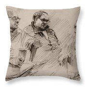 Three Men Chatting Throw Pillow