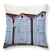 Three Modello Beach Cabanas Throw Pillow