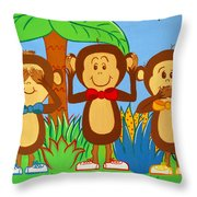 Three Monkeys No Evil Throw Pillow