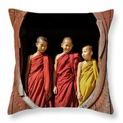 Three Monklets Throw Pillow