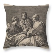 Three Muses And A Gesturing Putto Throw Pillow
