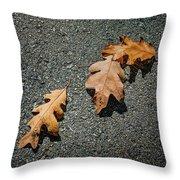 Three Oak Leaves Throw Pillow