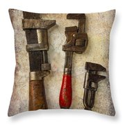 Three Old Worn Wrenches Throw Pillow
