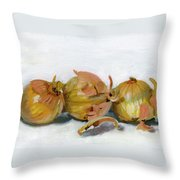 Three Onions Throw Pillow by Sarah Lynch