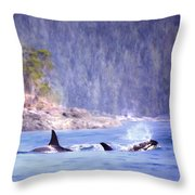 Three Orca Whales Throw Pillow