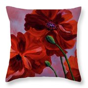 Three Oriental Poppies Throw Pillow