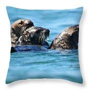 Three Otters Throw Pillow