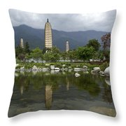 Three Pagodas Of Dali Throw Pillow