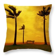Three Palm Trees And A Bench Throw Pillow