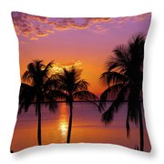 Three Palm Trees At Sunset Throw Pillow