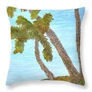 Three Palms At The Beach Throw Pillow