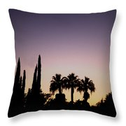 Three Palms In California At Sunset Throw Pillow