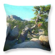 Three Peaks View Throw Pillow by David King