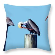 Three Pelicans Throw Pillow