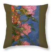 Three Peonies Throw Pillow