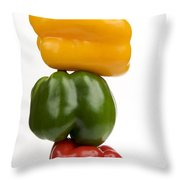 Three Peppers Throw Pillow