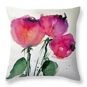 Three Pink Flowers 2 Throw Pillow