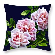 Three Pink Roses With Leaves Throw Pillow