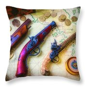 Three Pistoles On A Map Throw Pillow