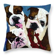 Three Playful Bullies Throw Pillow
