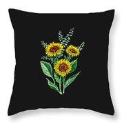 Three Playful Sunflowers Throw Pillow
