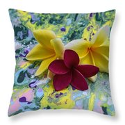 Three Plumeria Flowers Throw Pillow