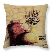 Three Pots And Twigs Throw Pillow