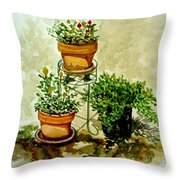 Three Potted Plants Throw Pillow
