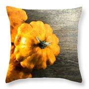 Three Pumpkins On Wood Throw Pillow
