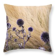 Three Purple Echinops Throw Pillow by Helga Novelli