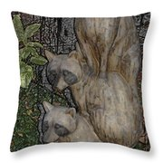 Three Raccoons Throw Pillow