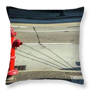 Three Red Lines Throw Pillow