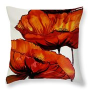 Three Red Poppies Throw Pillow