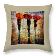 Three Red Umbrella Throw Pillow