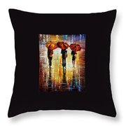 Three Red Umbrellas Throw Pillow