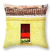 Three Red Windows With Flowers Of A Typically Italian House. Throw Pillow