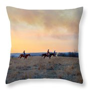 Three Riders In The Kansas Flint Hills Throw Pillow
