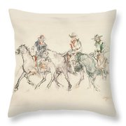 Three Riders Throw Pillow