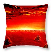 Three Rocks In Sunset Throw Pillow