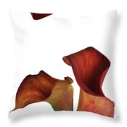 Three Rust Calla Lilies Throw Pillow