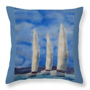 Three Sails Throw Pillow
