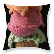 Three Scoops Of Ice Cream  Throw Pillow