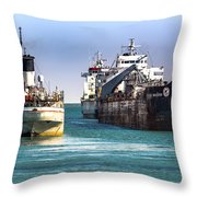 Three Ships In The Harbor Throw Pillow