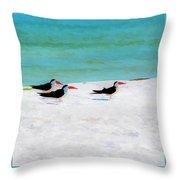 Three Skimmers Throw Pillow