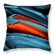 Three Sport Car Hoods Abstract Throw Pillow