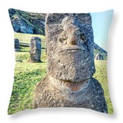 Three Standing Moai Statues Throw Pillow